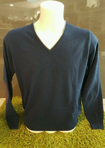 Taglia A Scollo Con V Cashmere 58 Uomo Toppe Pullover Maglia Blu Misto qHvwSKp