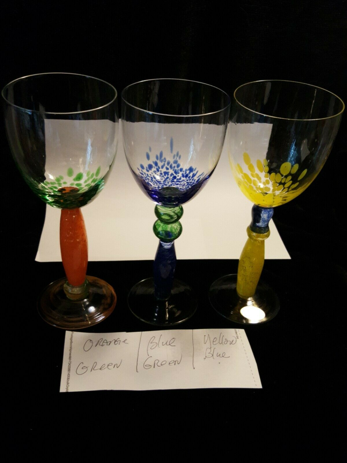 Beautiful Crystal  Wine Glasses Nouveau Handcrafted