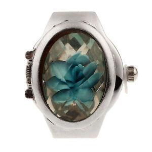 2015 HOT Creative Women Fashion Retro Rose Finger Watch Clamshell Ring Watch BU