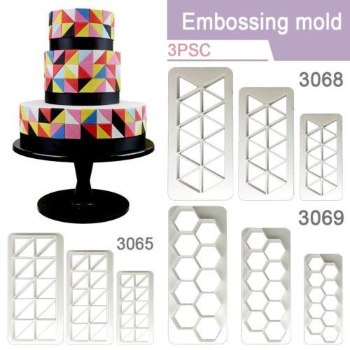 3Pcs Plastic Geometry Cookie Cutter Fondant Cake Mold DIY Cake Decorating Tools