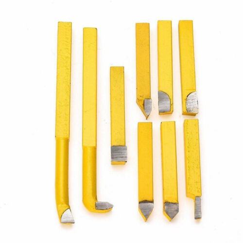 9pcs Alloy Lathe Tools Turning Carbide Brazed Tipped Milling Welding Bit Part