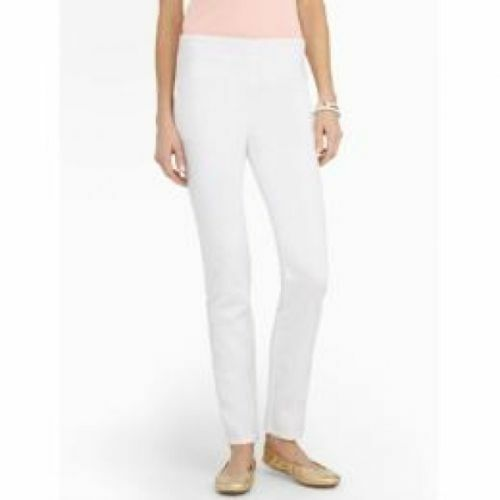 TALBOTS pants  89 NWT 20W  Arctic White Stretch Denim Flat Front Side Zipper