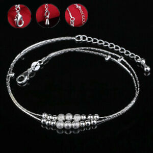 925 Sterling Silver Beaded Ankle Anklet Chain Bracelet Foot Jewelry UK