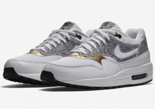 6b8cafdce5c4d WMNS Nike Air Max 1 SE Grey Gold Women Running Shoes SNEAKERS Trainer  881101-100 8 for sale online