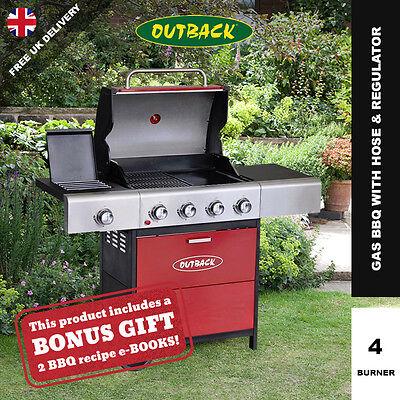 Outback Meteor Hooded 4 Burner Gas BBQ with Side Burner & FREE Propane Regulator