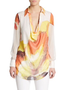 Haute-Hippie-Watercolor-Print-Cowl-Neck-Silk-Blouse-Top-Size-M