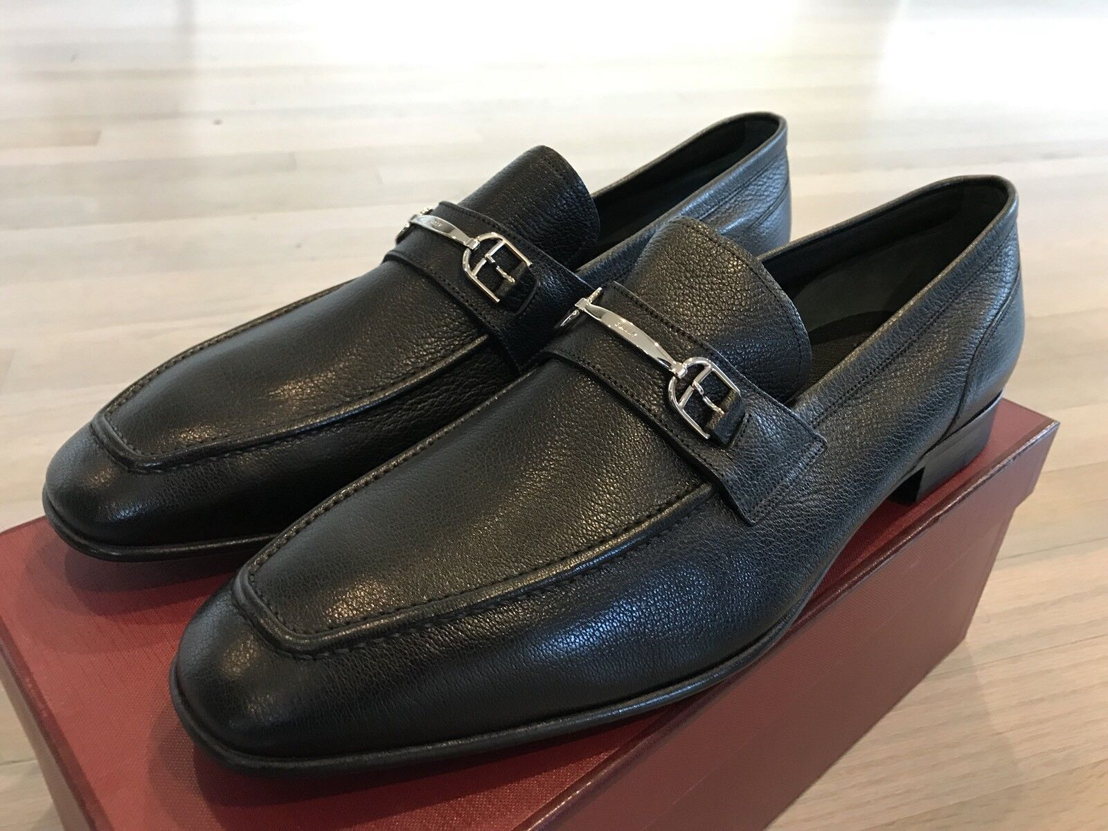 700  Bally Black Brian Leather Loafers Size US 11.5 Made in Switzerland