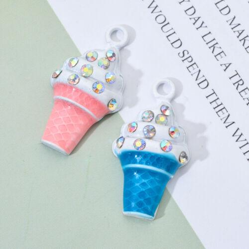 10Pcs Ice Cream Alloy Charm Pendant For DIY Necklace Bracelet Jewelry Making