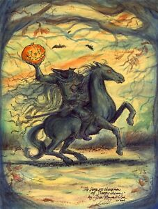 THE-HEADLESS-HORSEMAN-OF-SLEEPY-HOLLOW-Halloween-Print-Signed-JOHN-RANDALL-YORK