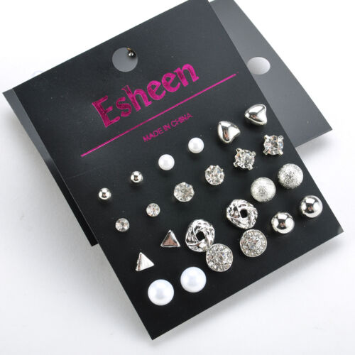 9 or 12 Pairs Korean Style Pearl Crystal Heart Triangle Stud Earring Set Jewelry