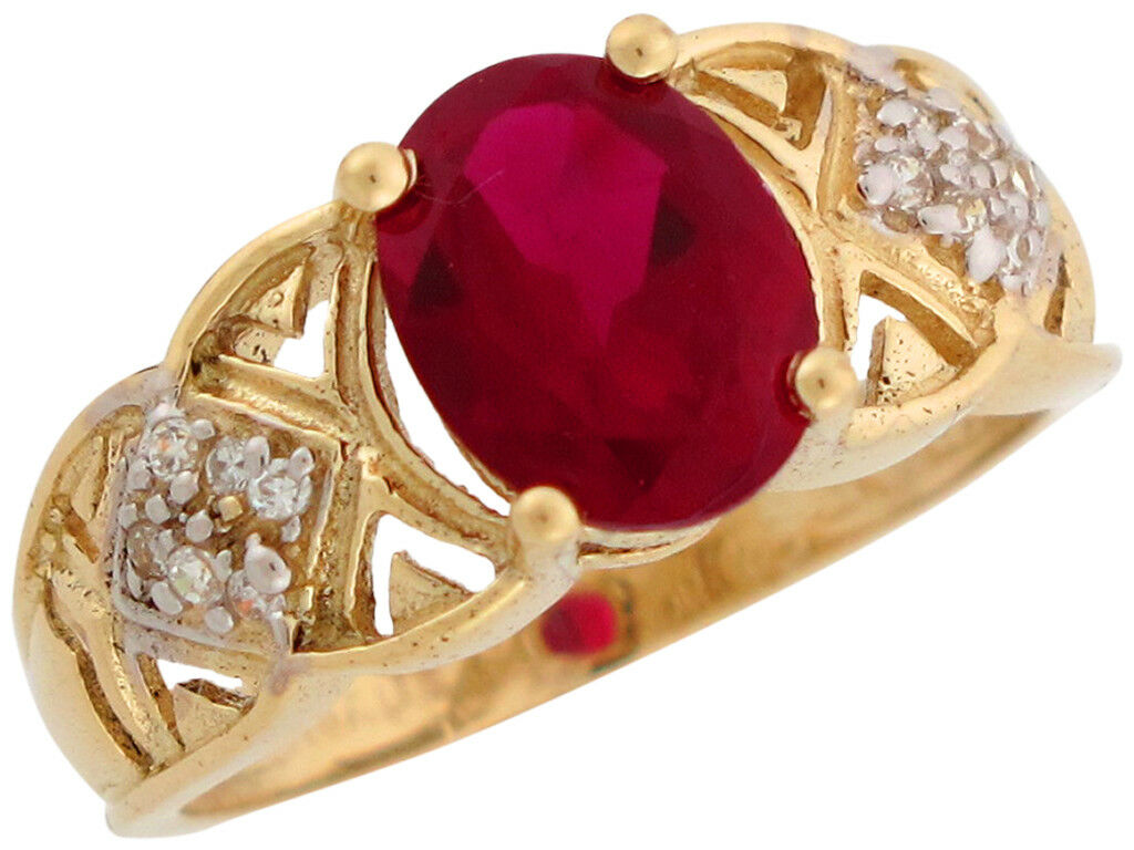 10k or 14k Two Tone gold Simulated Garnet and CZ January Birthstone Ladies Ring