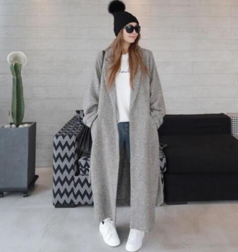 Maxi damesmix lange Warme losse dikke van overjas met jas voor Revers wolmix trenchcoat q0UIt1