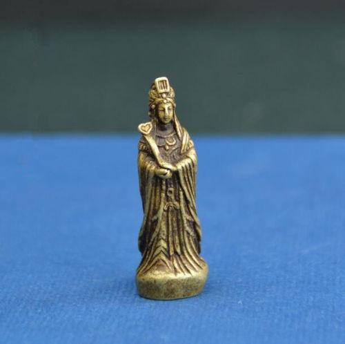 Chinese Pure brass Sea god Ma Zu Buddha small statue