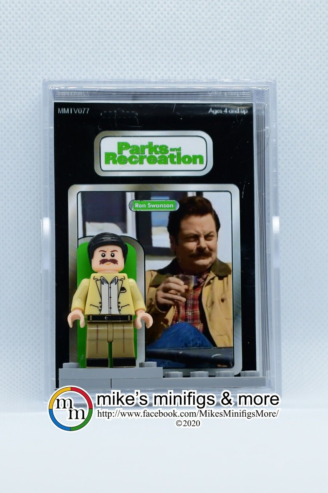 Parks and Recreation RON SWANSON Custom Carded Minifigure Display Mini-Figure