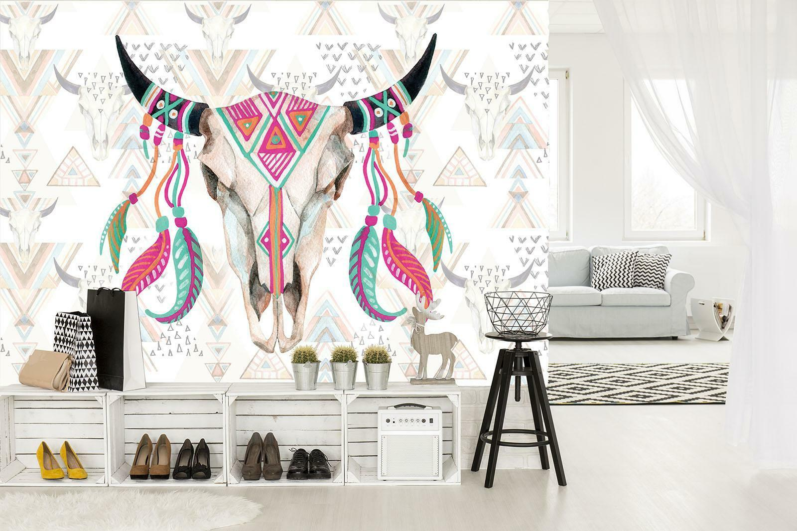 Photo Wallpaper Mural Non-woven 10783_VEN Skull abstraction horns feathers bull