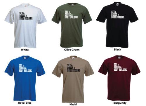 "drugs /& Body Building/"" Funny Men/'s Custom T-Shirt /""sex"