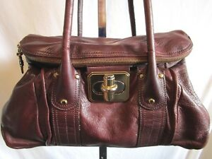 Image Is Loading B Makowsky Large Burgundy Red Leather Turnlock Satchel