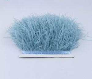 NEW Pale Dusty Blue Ostrich Feather Fringe Ribbon Trim Price for 30cm DIY Craft