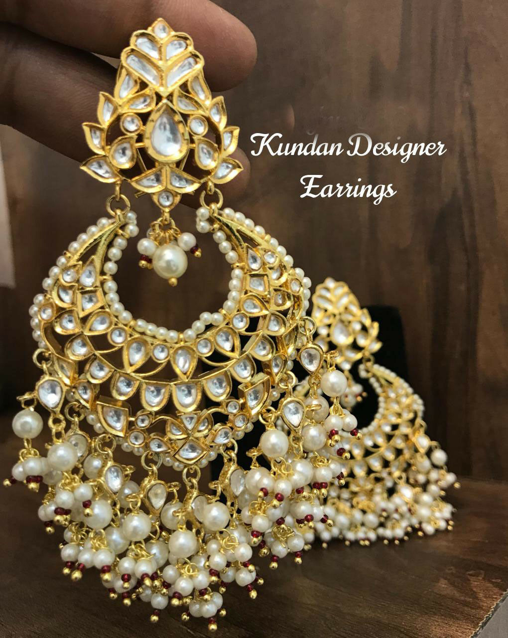 Bollywood Bridal Jewelry Indian Pearl Earrings gold Plated Kundan Chandbali