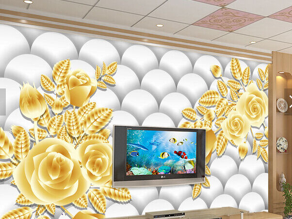 3D Weiße Perle, Gold Blaumen 1 Fototapeten Wandbild Fototapete BildTapete Familie