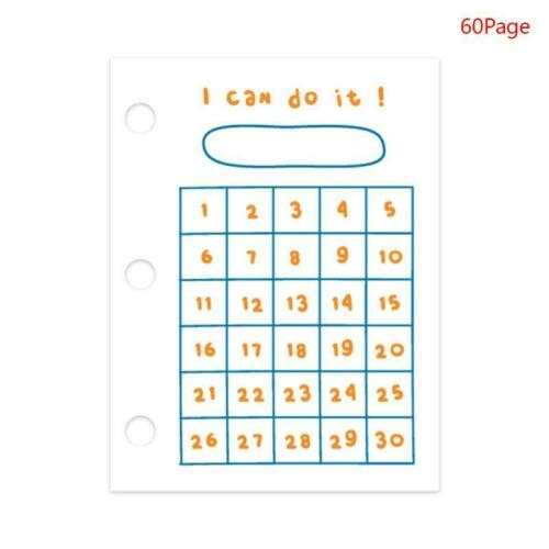 60 Sheets 60x80mm Mini 3 Hole Loose Leaf Binder Notebook Inner Page for Planner