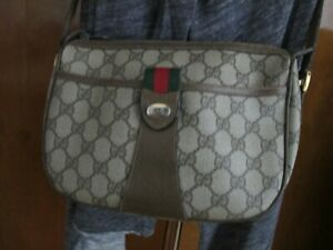Authentic-GUCCI-Brown-Vintage-crossbody-green-amp-red-stripe-handbag-Mod-89-02-032