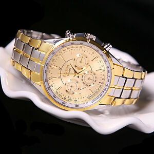 Men-039-s-Luxury-Date-Gold-Dial-Stainless-Steel-Analog-Quartz-Business-Wrist-Watches