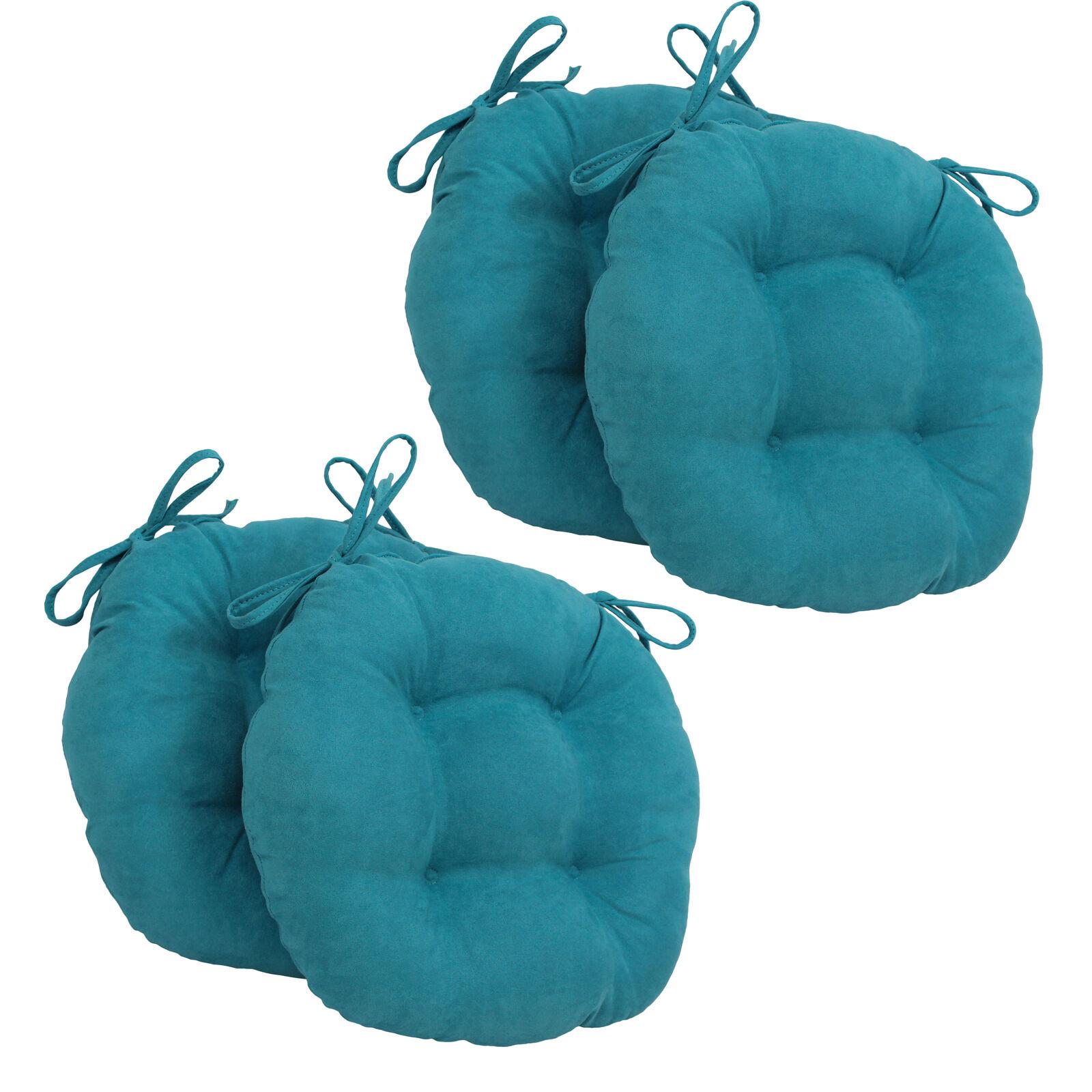 16 pulgadas sólido Micro Gamuza rojoonda con mechones trenzados Silla Cojines (juego de 4) - Aqua Azul