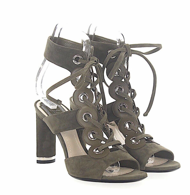 NIB Dior Womens Spice Suede Kaki Green Lace Up High Heel Samdals 36