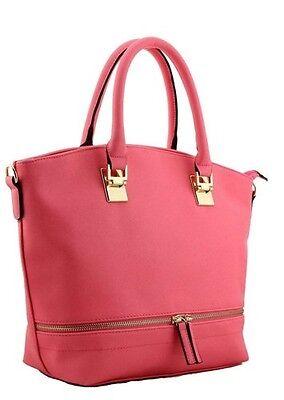 Damen Kunstleder Plain Solid Color Tote Schulter Frauen Handtasche Tasche