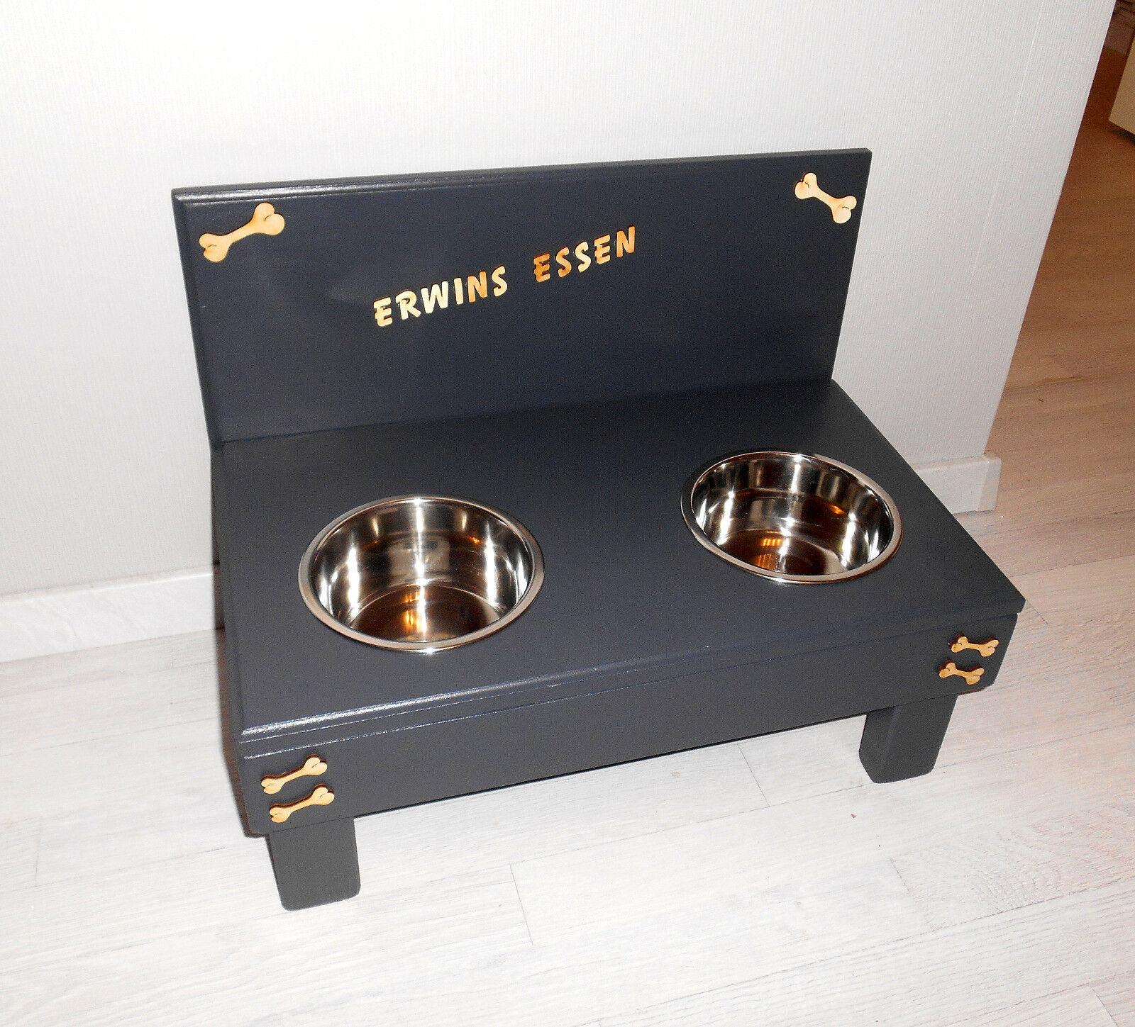 Hundenapf   Hundebar   Hohe 20 cm Futterbar, anthrazit, Napfbar (1036a)  | Zu verkaufen