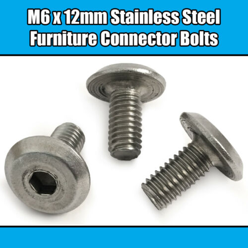 M6 Stainless Steel Furniture Joint Connector Bolts Fix Bed Cot Unit Table Desk
