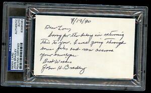 John Bradley signed autograph 3x5 card WWII Iwo Jima Flag Raiser PSA Slabbed