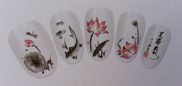 Classic Painting Design Nail Art Water Decals Sticker For Natural/False Nails
