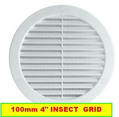 """WHITE CIRCLE AIR VENT GRILLE 100mm Round Ducting Ventilation Cover 4"""""""