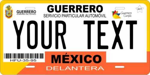 Guerrero 2012 Mexico License Plate Personalized Car Auto Bike Motorcycle Tag