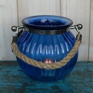 windlicht glas blau maritim mit kordel laterne garten deko teelichthalter gro. Black Bedroom Furniture Sets. Home Design Ideas