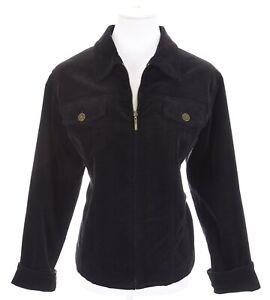 Coldwater Creek Black Velvet Full Zip Up Lined Blazer Jacket Women Sz L