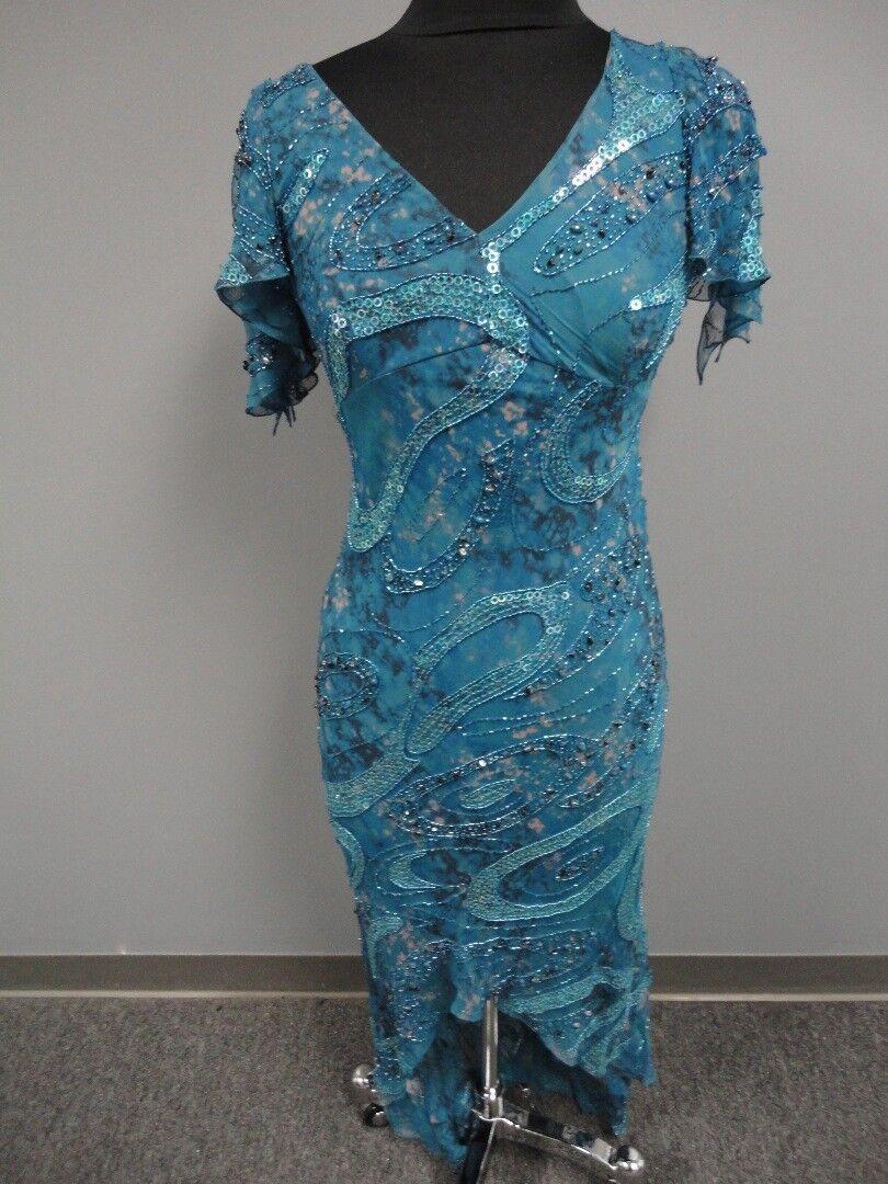 TERANI COUTURE Green orange Silk Lined Embellished Formal Dress Size 8 EE7089
