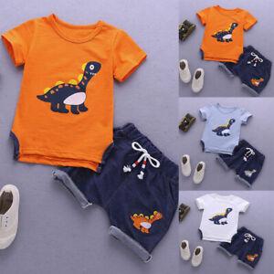 5231afea31290 Baby Boys Kids Summer Short Sleeve Dinosaur Tracksuit Sport Suits ...