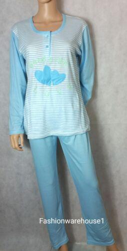 Ladies Printed Pattern Striped Animated Long Sleeve Pyjamas PJ Set Size 8-20
