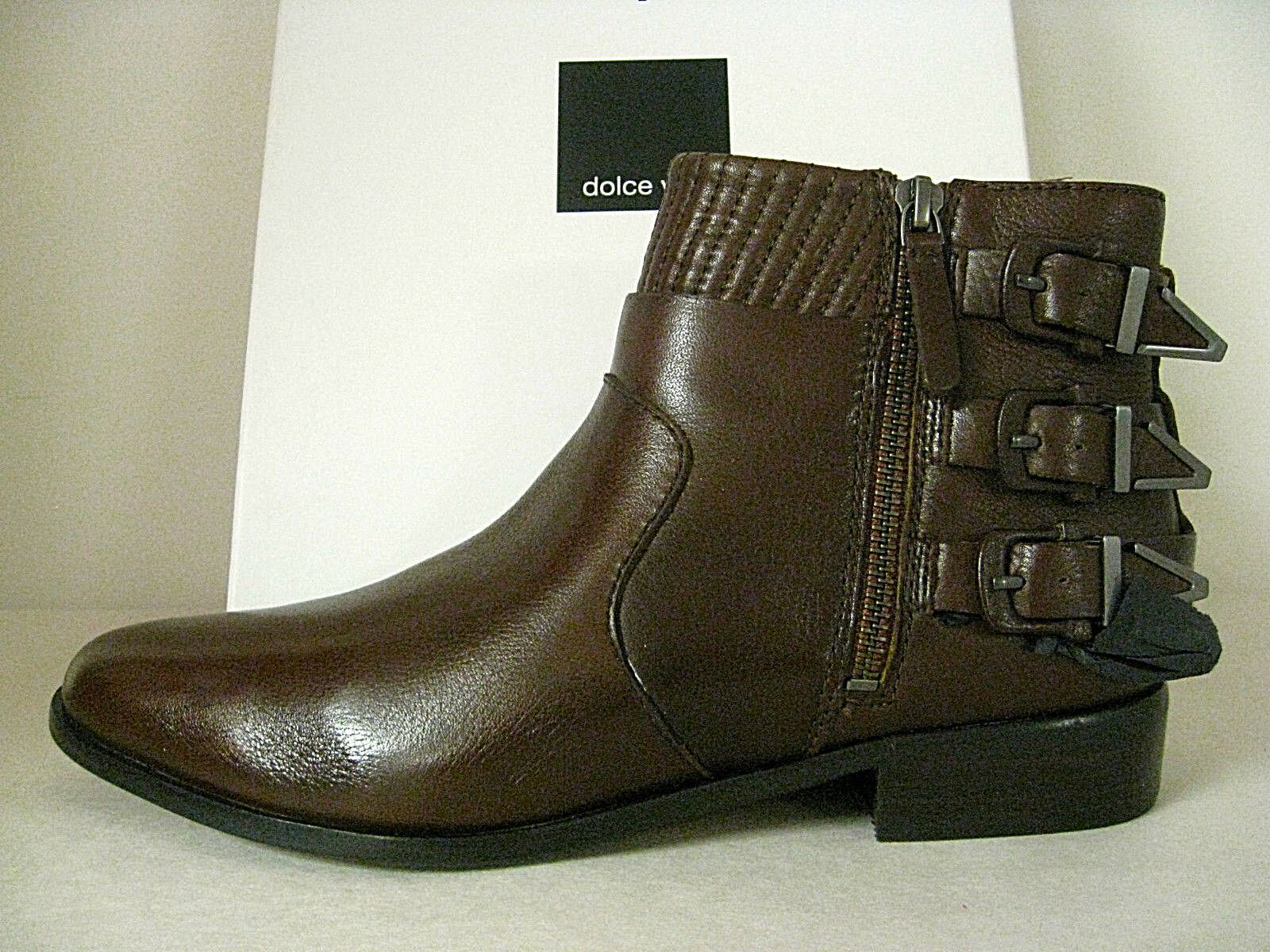 DOLCE VITA - RALPHY CHOCOLATE BUCKLE LEATHER ANKLE BOOTIE SZ 8, RETAIL 199