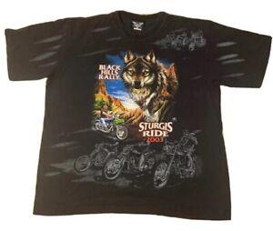STURGIS-RIDE-2003-Graphic-T-Shirt-Sz-3XL-Black-Hills-Rally-WOLF-EAGLE-Harley