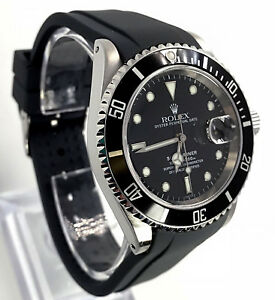 Details about Rubber Dive Strap For Rolex Submariner Black 20mm Curved End  Band USA Seller