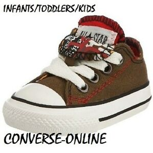 TODDLERS-Boy-Kid-CONVERSE-All-Star-GREEN-RED-DOUBLE-TONGUE-Trainers-23-UK-SIZE-7