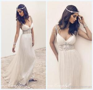 Custom Made Vintage Beach Wedding Dresses Beading V Neck White ...