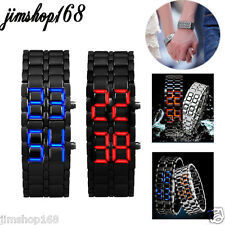 2x Lava Style Iron Samurai Black Bracelet LED Japanese Inspired Watch RED / BLUE