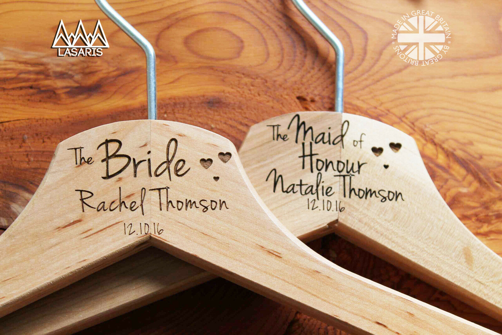 Personalized Bridesmaid Engraved Wedding Hanger in Wood or White - Hearts