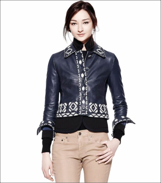 1bcd1f1a03a Tory Burch Lambskin Leather Blue Brianna Jacket Sz 6 for sale online ...