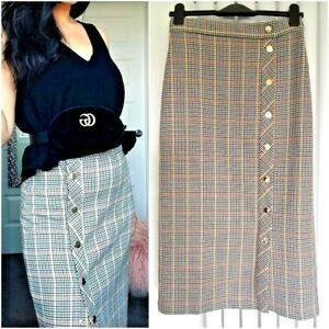 8955f30d Details about ZARA BROWN BEIGE CHECKED PENCIL MIDI SKIRT WITH SIDE  SNAP-BUTTONS SIZE M